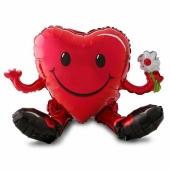Sitzender Herz-Smiley zum Valentinstag, Folienballon zur Luftbefüllung