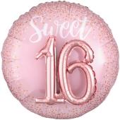 Folienballon, Jumbo Sixteen Blush mit 3D-Effekt zum 16. Geburtstag