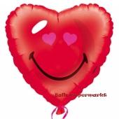 Folienballon mit Ballongas, Smiley Herz, Herzballon