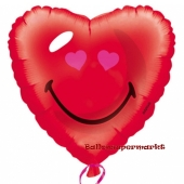 Folienballon mit Ballongas, Smiley Herz, Herzballon ohne Helium-Ballongas