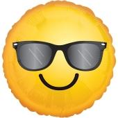 Emoticon mit Sonnenbrille, Folienballon mit Ballongas-Helium