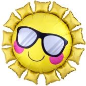 Emoticon Sonne, Folienballon mit Ballongas-Helium