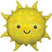Sonne, irisierend, Folienballon mit Ballongas-Helium