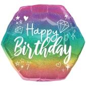 Holografischer Luftballon Happy Birthday Sparkle, ohne Helium-Ballongas