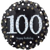 Luftballon aus Folie mit Helium, Sparkling Birthday 100, zum 100. Geburtstag