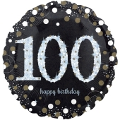 Luftballon zum 100. Geburtstag, Sparkling Birthday 100, ohne Helium-Ballongas