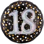 Holografischer Folienballon, Jumbo Sparkling Birthday 30 mit 3D-Effekt zum 18. Geburtstag
