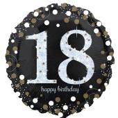 Luftballon zum 18. Geburtstag, Sparkling Birthday 18, ohne Helium-Ballongas