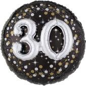 Holografischer Folienballon, Jumbo Sparkling Birthday 30 mit 3D effekt zum 30. Geburtstag