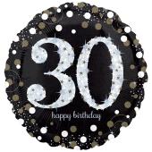 Holografischer Folienballon, Jumbo Sparkling Birthday 30 zum 30. Geburtstag