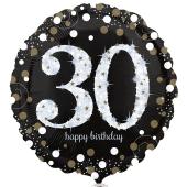 Luftballon zum 30. Geburtstag, Sparkling Birthday 30, ohne Helium-Ballongas
