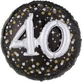 Holografischer Folienballon, Jumbo Sparkling Birthday 40 mit 3D effekt zum 40. Geburtstag