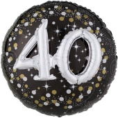 Folienballon Sparkling Celebration 40, ohne Helium zum 40. Geburtstag