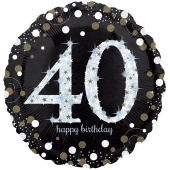 Holografischer Folienballon, Jumbo Sparkling Birthday 40 zum 40. Geburtstag