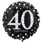 Luftballon zum 40. Geburtstag, Sparkling Birthday 40, ohne Helium-Ballongas