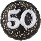 Holografischer Folienballon, Jumbo Sparkling Birthday 50 mit 3D effekt zum 50. Geburtstag
