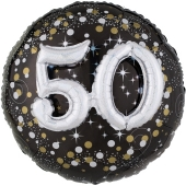 Folienballon Sparkling Celebration 50, ohne Helium zum 50. Geburtstag