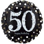 Folienballon Jumbo Sparkling Celebration 50, ohne Helium zum 50. Geburtstag