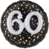 Holografischer Folienballon, Jumbo Sparkling Birthday 60 mit 3D effekt zum 60. Geburtstag