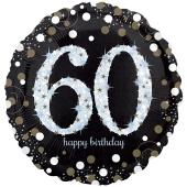 Holografischer Folienballon, Jumbo Sparkling Birthday 60 zum 60. Geburtstag
