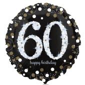 Luftballon aus Folie mit Helium, Sparkling Birthday 60, zum 60. Geburtstag