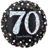 Holografischer Folienballon, Jumbo Sparkling Birthday 70 zum 70. Geburtstag
