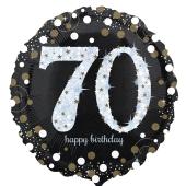 Luftballon aus Folie mit Helium, Sparkling Birthday 70, zum 70. Geburtstag