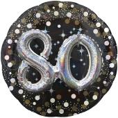 Holografischer Folienballon, Jumbo Sparkling Birthday 80 mit 3D Effekt zum 80. Geburtstag
