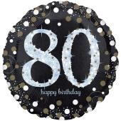 Holografischer Folienballon, Jumbo Sparkling Birthday 80 zum 80. Geburtstag