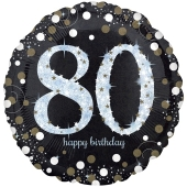 Folienballon Sparkling Celebration 80 Jumbo, ohne Helium zum 80. Geburtstag