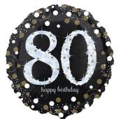 Luftballon aus Folie mit Helium, Sparkling Birthday 80, zum 80. Geburtstag