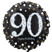 Luftballon aus Folie mit Helium, Sparkling Birthday 90, zum 90. Geburtstag