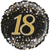 Luftballon zum 18. Geburtstag, Sparkling Fizz Gold 18, ohne Helium-Ballongas