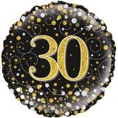 Luftballon zum 30. Geburtstag, Sparkling Fizz Gold 30, ohne Helium-Ballongas