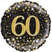 Luftballon aus Folie mit Helium, Sparkling Fizz Gold 60, zum 60. Geburtstag, Jubiläum