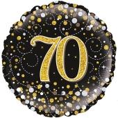 Luftballon zum 70. Geburtstag, Sparkling Fizz Gold 70, ohne Helium-Ballongas