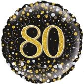 Luftballon aus Folie mit Helium, Sparkling Fizz Gold 80, zum 80. Geburtstag, Jubiläum