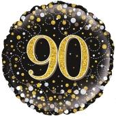 Luftballon aus Folie mit Helium, Sparkling Fizz Gold 90, zum 90. Geburtstag, Jubiläum