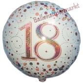Luftballon zum 18. Geburtstag, Sparkling Fizz Roségold 18, ohne Helium-Ballongas