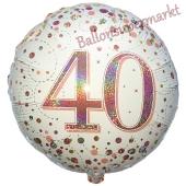 Luftballon aus Folie mit Helium, Sparkling Fizz Roségold 40, zum 40. Geburtstag, Jubiläum