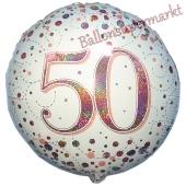Holografischer Folienballon Sparkling Fizz Roségold 50, ohne Helium-Ballongas