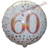 Luftballon zum 60. Geburtstag, Sparkling Fizz Roségold 60, ohne Helium-Ballongas