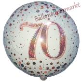 Luftballon zum 70. Geburtstag, Sparkling Fizz Roségold 70, ohne Helium-Ballongas