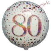Luftballon zum 80. Geburtstag, Sparkling Fizz Roségold 80, ohne Helium-Ballongas