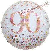 Luftballon zum 90. Geburtstag, Sparkling Fizz Roségold 90, ohne Helium-Ballongas