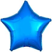 Sternballon aus Folie, blau, 45 cm, Ballon mit Ballongas Helium
