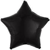 Sternballon aus Folie, Schwarz, 45 cm, inklusive Ballongas Helium