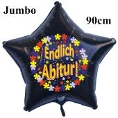 Endlich Abitur! Schwarzer Jumbo Sternluftballon aus Folie