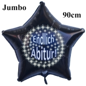 Endlich Abitur! Stars ,Schwarzer Jumbo Sternluftballon aus Folie