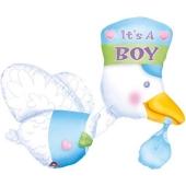 Luftballon zu Geburt und Taufe eines Mädchens, Klapperstorch, blau, heliumgefüllt